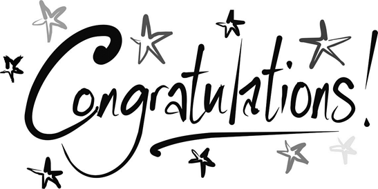 Black and white image that reads congratulations